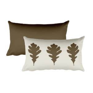 Oak Leaves Pillow, Brown, 20″x12″