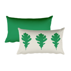 Oak Leaves Pillow, Green, 20″x12″