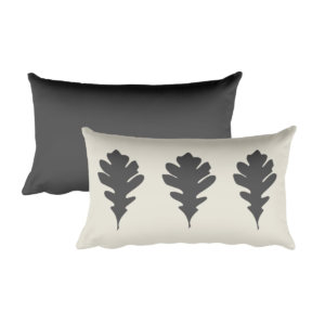 Oak Leaves Pillow, Grey, 20″x12″