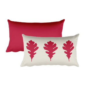 Oak Leaves Pillow, Red, 20″x12″