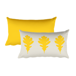 Oak Leaves Pillow, Gold, 20″x12″